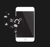 Mobile phone vector white with media icons Stock Image