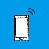 Mobile phone vibrate flat icon. White mobile phone vibrate sign simple designed Royalty Free Stock Photos