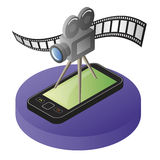 Mobile phone video. Illustration of mobile smart phone with video camera and film strip Royalty Free Stock Photo
