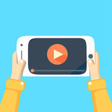 Mobile phone with video player. On the screen Royalty Free Stock Photography
