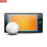 Mobile phone with volleyball ball and field on the Royalty Free Stock Image