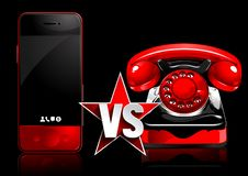 Mobile phone vs retro phone vector illustration