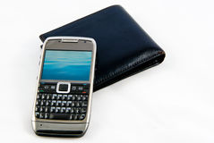 Mobile phone and wallet Royalty Free Stock Photo