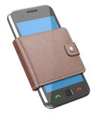 Mobile phone in the wallet. 3D concept with mobile phone and wallet Stock Image