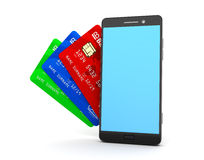 Mobile phone wallet Royalty Free Stock Images