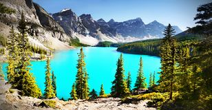 Moraine Lake, Best Canadian Lakes. Magic landscape scenery. Brilliant blue-green colour Moraine Lake, located near Lake Louise. Banff National Park, Canadian