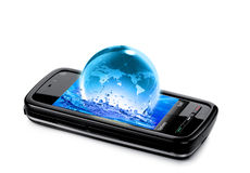 Mobile phone with water and planet earth splashing Stock Photos