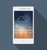 Mobile Phone - Weather Widget Stock Photo