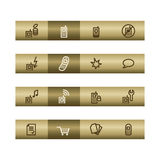 Mobile phone web icons on bronze bar Royalty Free Stock Image