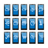 Mobile phone web icons Stock Photography