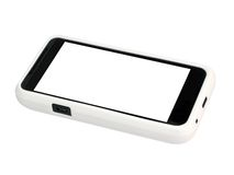Mobile phone in a white cover with a blank screen. Royalty Free Stock Photography