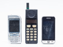 Mobile phone on white Stock Images