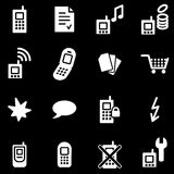 Mobile phone white web icons Stock Photos