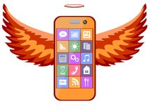 Mobile phone with wings, vector illustration Royalty Free Stock Photo