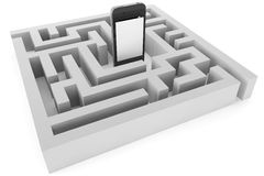 Mobile Phone With Labyrinth Stock Photos