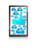 Mobile Phone With Like Symbol And Blue Clouds Stock Image