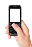 Mobile phone in woman hand Royalty Free Stock Image