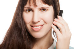 Mobile phone in woman hand Stock Photos