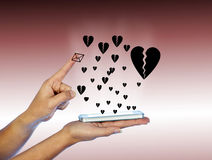 Mobile phone in woman hand. With many black hearts. Royalty Free Stock Photos