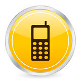 Mobile phone yellow circle ico Stock Photography