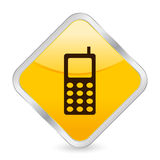 Mobile phone yellow icon Stock Image