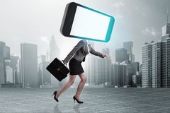 The mobile phone zombie under the influence of smartphone. Mobile phone zombie under the influence of smartphone Royalty Free Stock Photos