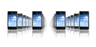 Mobile phones. Many three dimensional mobile phones on a white background Stock Images