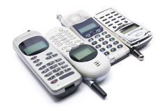 Mobile Phones. On White Background Stock Photo