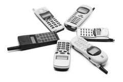 Mobile Phones. On White Background Stock Images