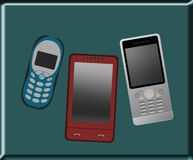 Mobile phones. Set of three types mobile phones Royalty Free Illustration