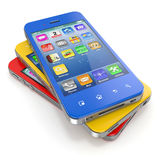 Mobile phones. Set of mobile phones with touchscreen. 3d Stock Image