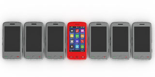 Mobile phones. 3d Royalty Free Stock Photo