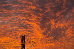 Mobile phones antenas at the background of sky Royalty Free Stock Photography