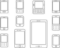 Mobile phones, Cellphones and smartphones icons. Mobile phones, Cellphones and smartphones simple thin icons Stock Photos