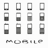Mobile phones collection of monochrome symbols. (vector eps 10 Royalty Free Stock Photography