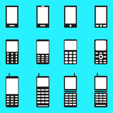 Mobile phones collection of monochrome symbols Stock Image
