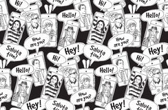 Mobile phones communication people black and white seamless pattern. vector illustration