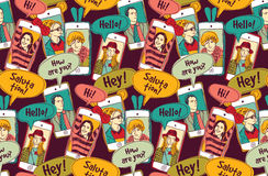 Mobile phones communication people color seamless pattern. Royalty Free Stock Photos