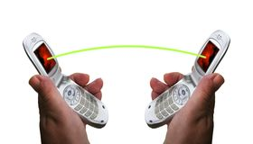 Mobile phones connect. royalty free stock photography