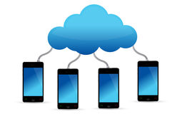 Mobile phones connected to cloud Royalty Free Stock Images