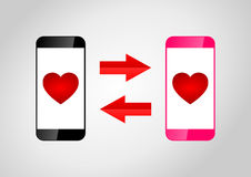 Mobile phones dating Royalty Free Stock Images