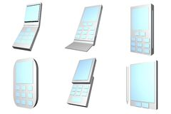 Mobile Phones Designs Type Icons Set Stock Photo