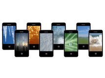 Mobile phones with different phases of water Stock Photos