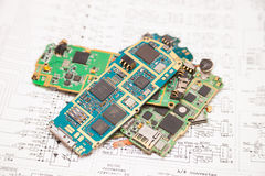 Mobile phones electronic board stock photos