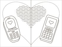 Mobile phones-enamoured, contours Royalty Free Stock Image
