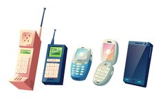 Mobile phones evolution cartoon vector concept. Cellphones generations from vintage models with physical numeric keypads and retractable antennas to modern stock illustration