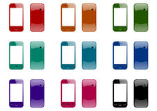 Mobile phones front and back Stock Images