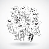 Mobile phones group happy communication people black lines. Royalty Free Stock Photos
