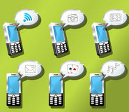 Mobile phones icon set. Communication, entertainment Stock Photo
