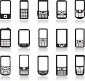 Mobile phones icons set Royalty Free Stock Photography